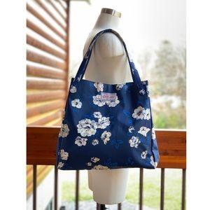 Cath Kidston Navy Floral Tote Cotton w/ PVC coat